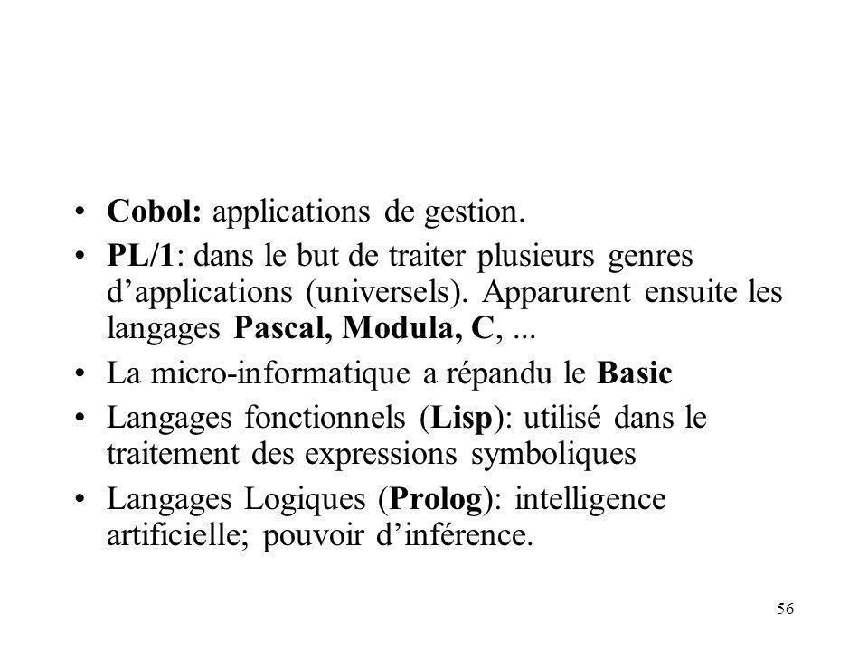 Cobol: applications de gestion.