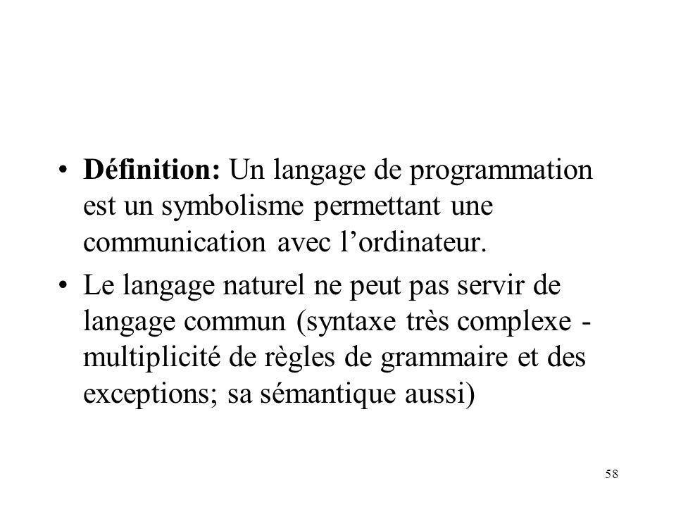 Définition: Un langage de programmation est un symbolisme permettant une communication avec l'ordinateur.