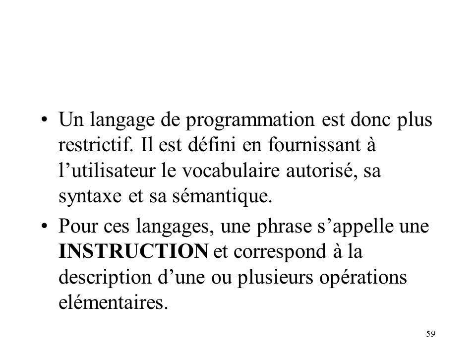 Un langage de programmation est donc plus restrictif