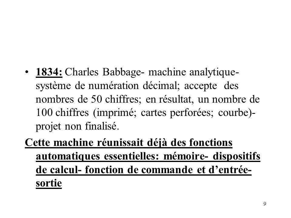 1834: Charles Babbage- machine analytique- système de numération décimal; accepte des nombres de 50 chiffres; en résultat, un nombre de 100 chiffres (imprimé; cartes perforées; courbe)- projet non finalisé.