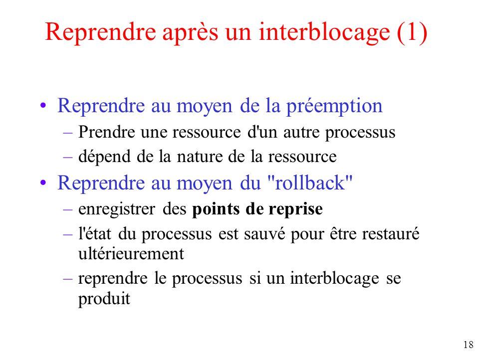 Reprendre après un interblocage (1)