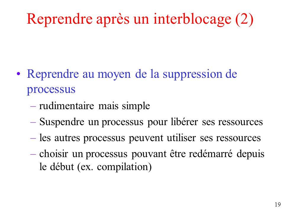 Reprendre après un interblocage (2)