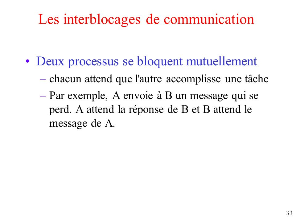 Les interblocages de communication