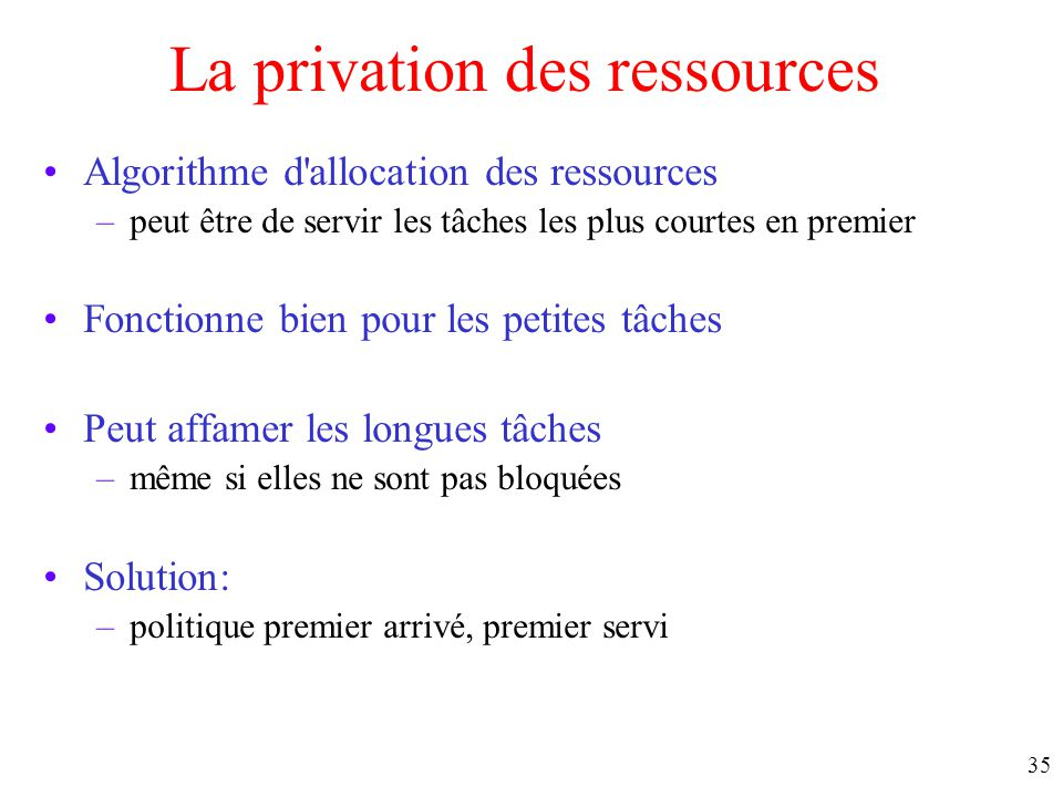 La privation des ressources