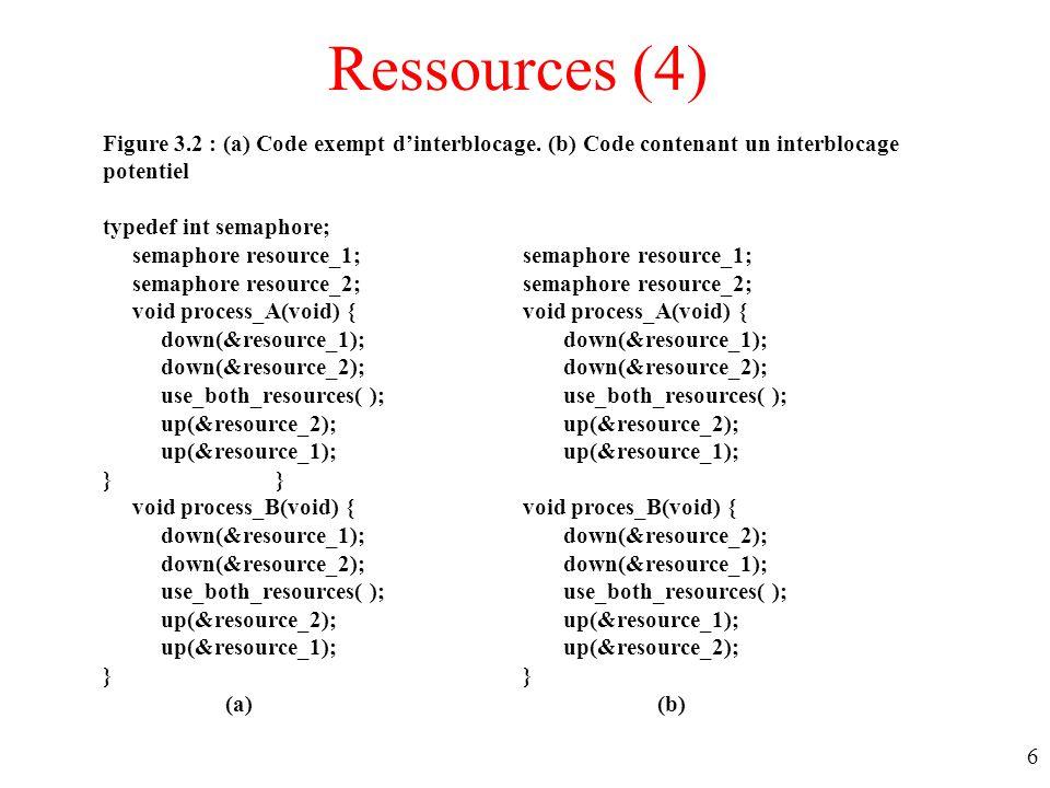 Ressources (4) Figure 3.2 : (a) Code exempt d'interblocage. (b) Code contenant un interblocage potentiel.