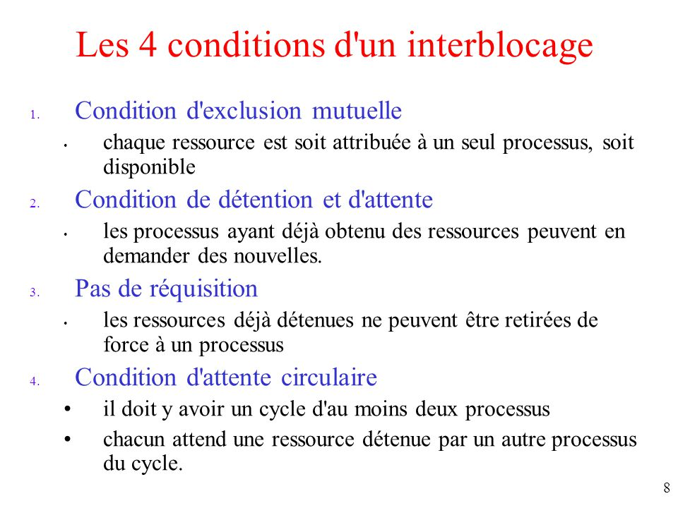 Les 4 conditions d un interblocage