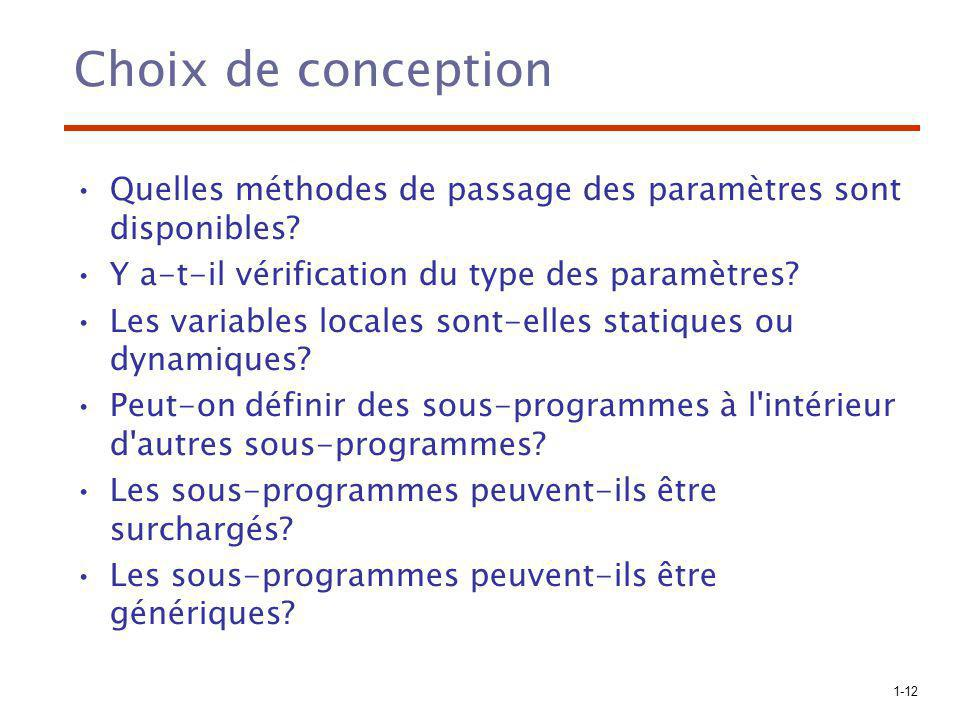 Choix de conception Quelles méthodes de passage des paramètres sont disponibles Y a-t-il vérification du type des paramètres