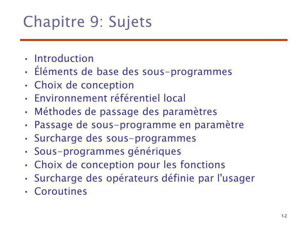Chapitre 9: Sujets Introduction Éléments de base des sous-programmes