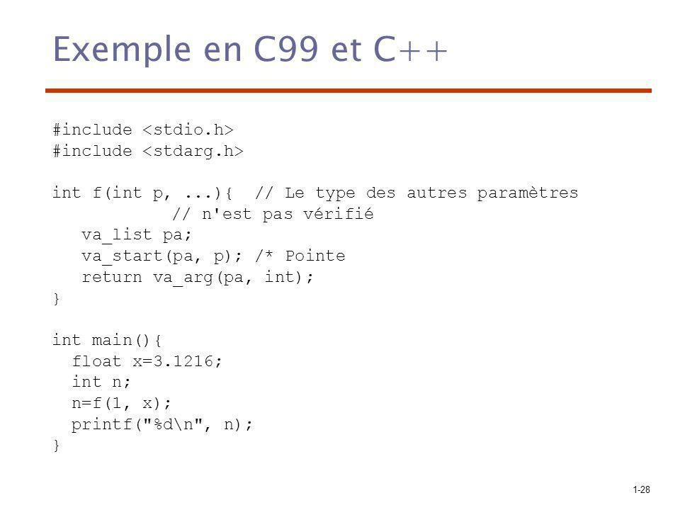 Exemple en C99 et C++ #include <stdio.h>