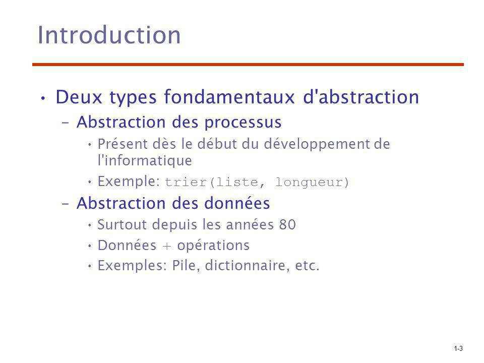 Introduction Deux types fondamentaux d abstraction