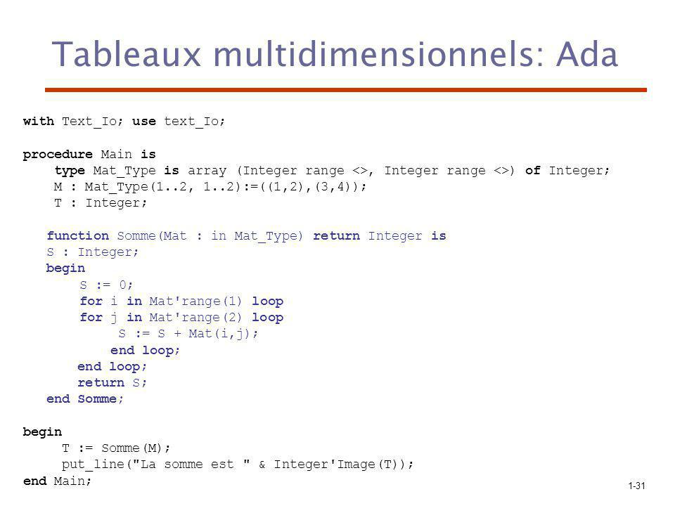Tableaux multidimensionnels: Ada