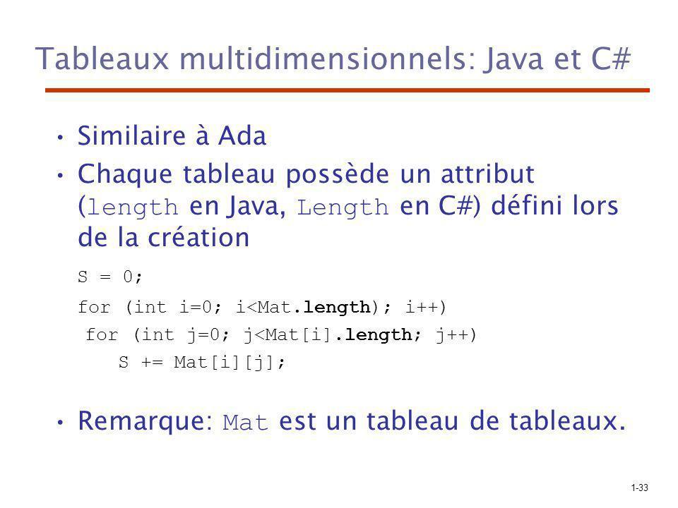 Tableaux multidimensionnels: Java et C#