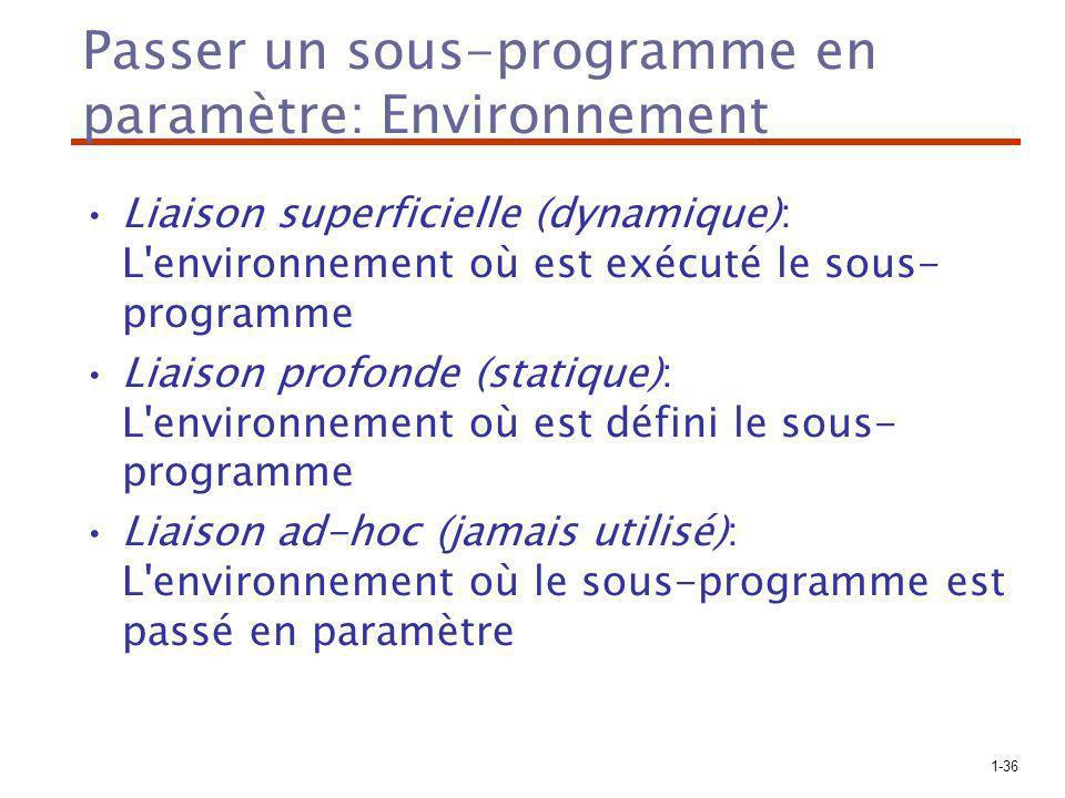 Passer un sous-programme en paramètre: Environnement