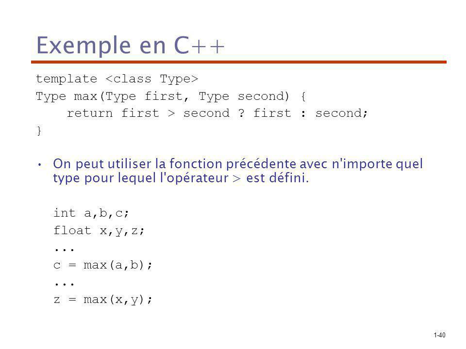 Exemple en C++ template <class Type>