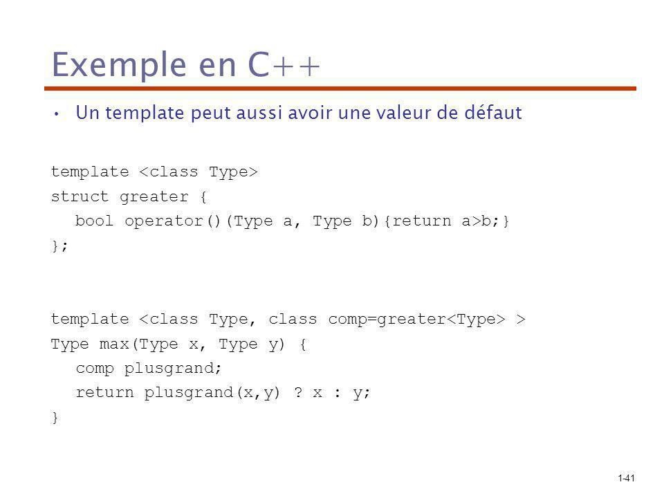 Exemple en C++ Un template peut aussi avoir une valeur de défaut
