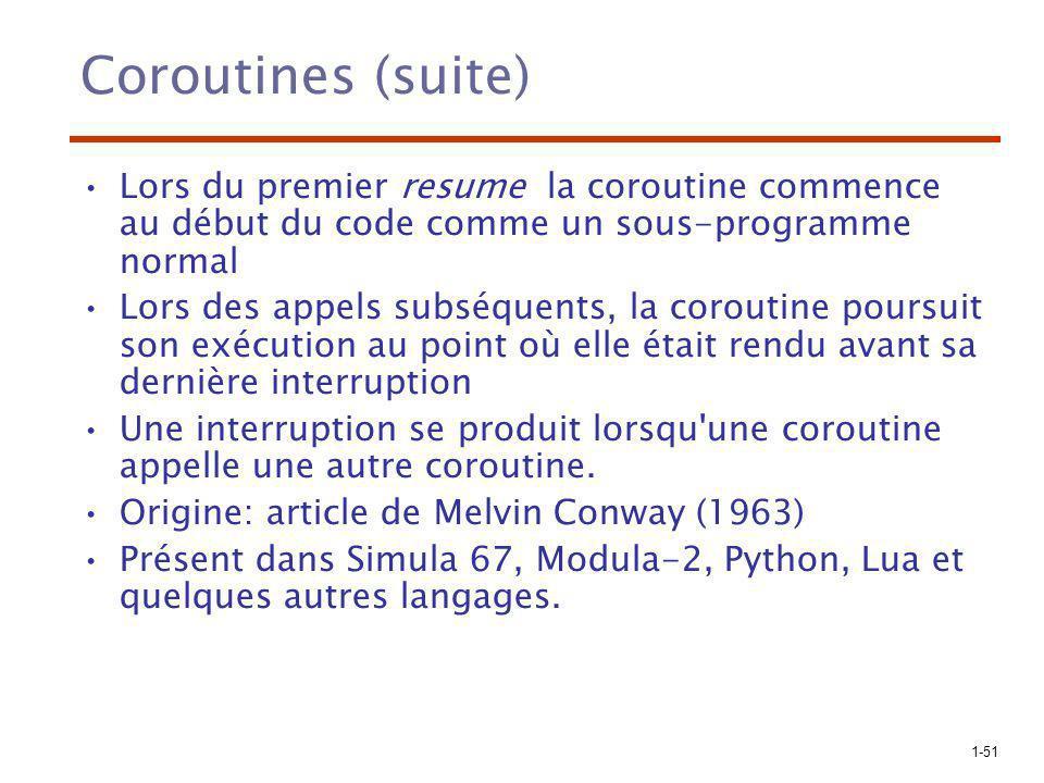 Coroutines (suite) Lors du premier resume la coroutine commence au début du code comme un sous-programme normal.