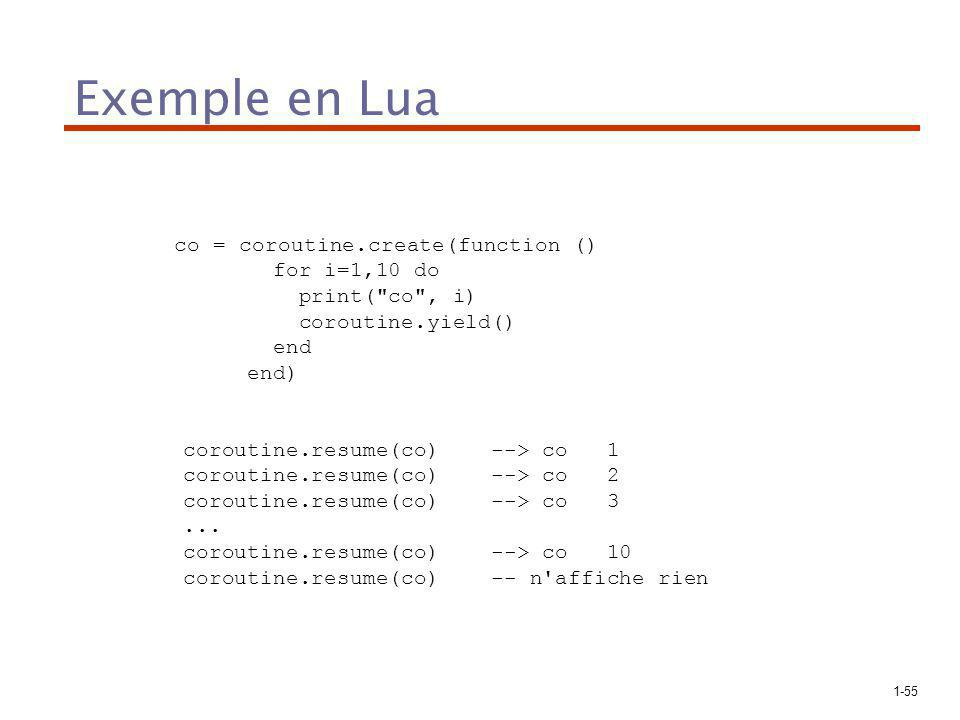 Exemple en Lua for i=1,10 do print( co , i) coroutine.yield() end end)