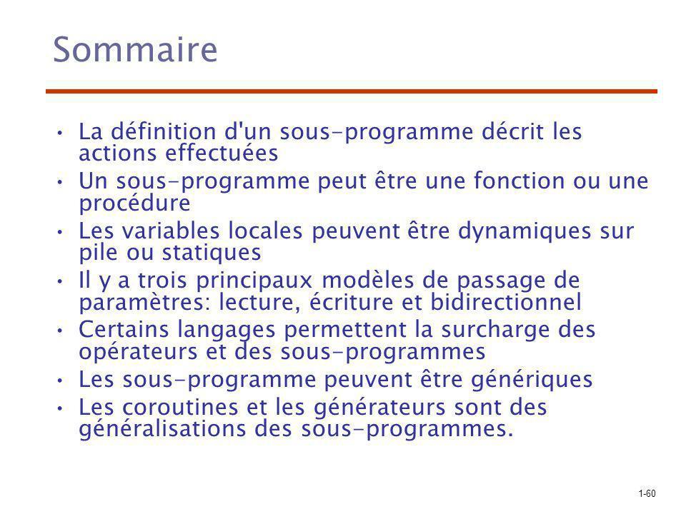 Sommaire La définition d un sous-programme décrit les actions effectuées. Un sous-programme peut être une fonction ou une procédure.