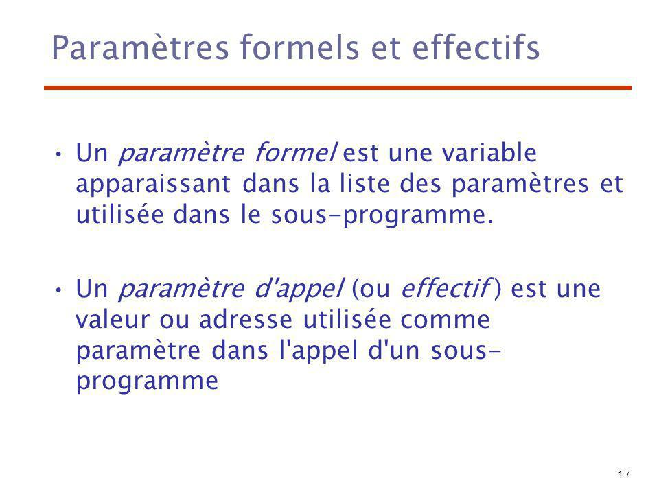 Paramètres formels et effectifs