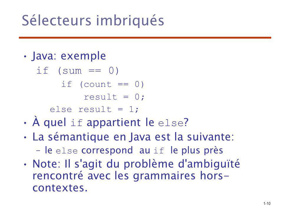 Sélecteurs imbriqués Java: exemple if (sum == 0)