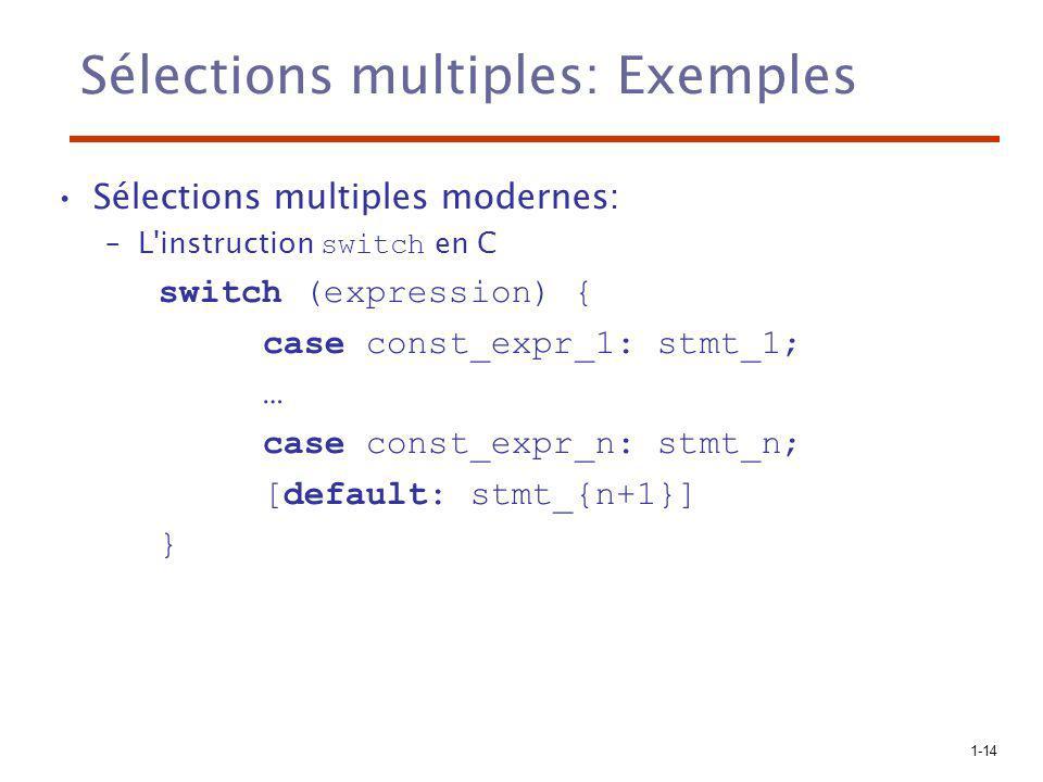 Sélections multiples: Exemples