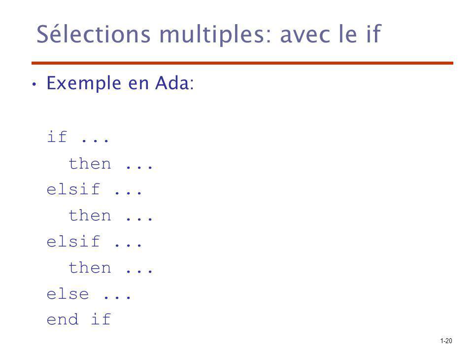 Sélections multiples: avec le if