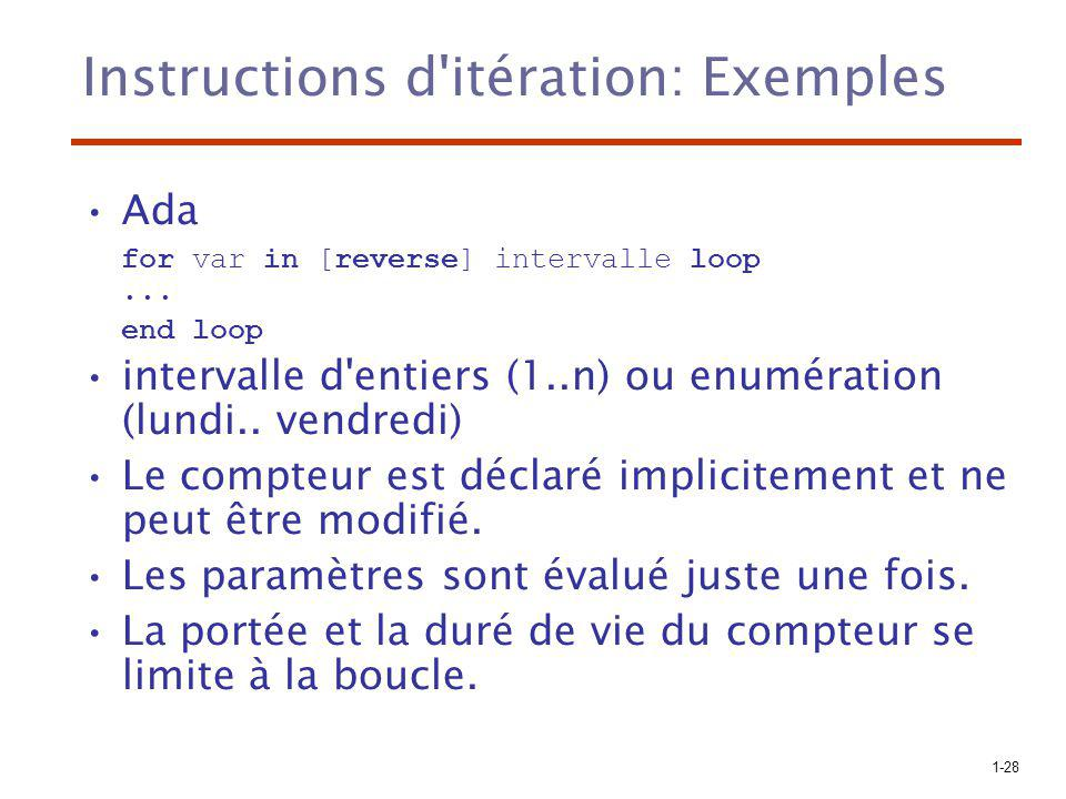 Instructions d itération: Exemples