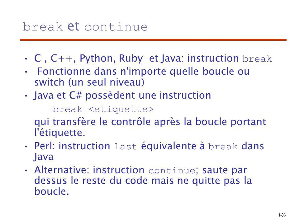 break et continue C , C++, Python, Ruby et Java: instruction break