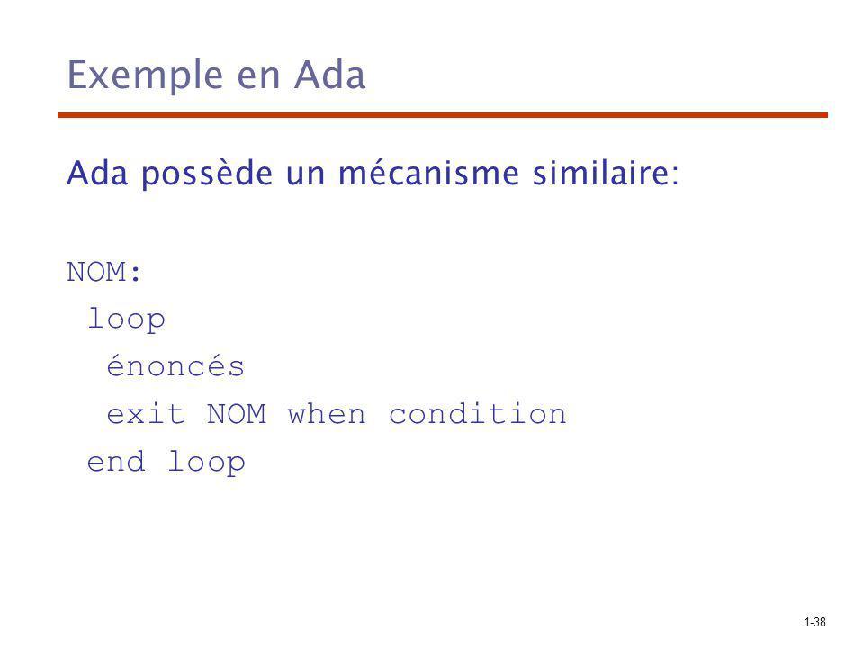 Exemple en Ada Ada possède un mécanisme similaire: NOM: loop énoncés