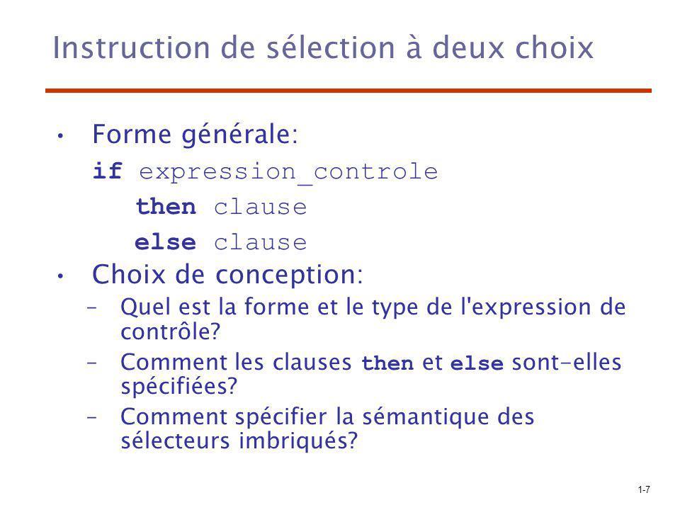 Instruction de sélection à deux choix