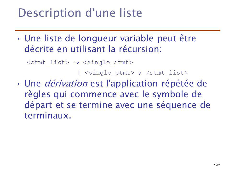 Description d une liste