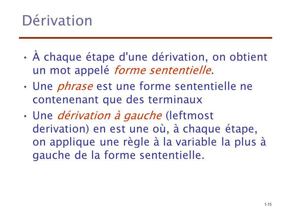 Dérivation À chaque étape d une dérivation, on obtient un mot appelé forme sententielle.