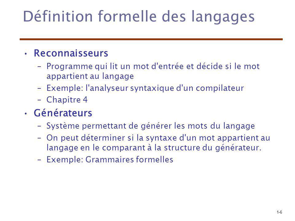 Définition formelle des langages