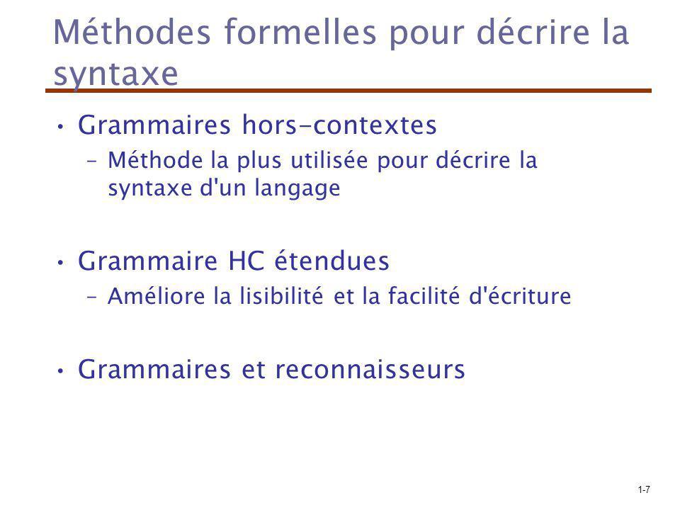 Méthodes formelles pour décrire la syntaxe