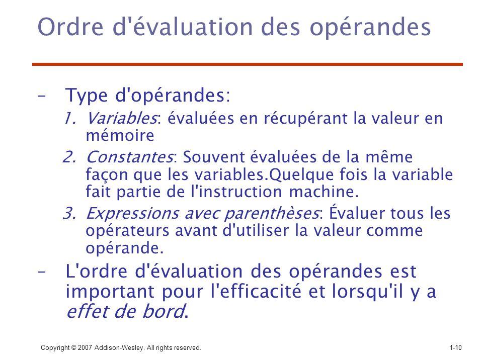 Ordre d évaluation des opérandes
