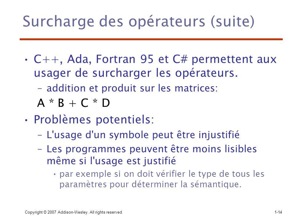 Surcharge des opérateurs (suite)