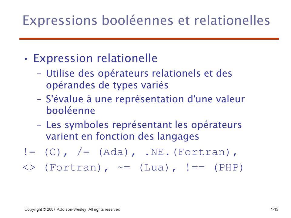 Expressions booléennes et relationelles