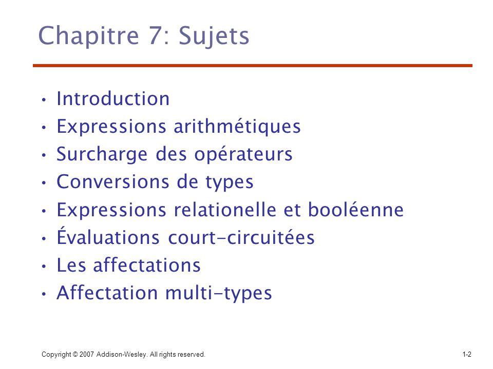 Chapitre 7: Sujets Introduction Expressions arithmétiques