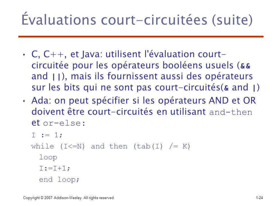 Évaluations court-circuitées (suite)