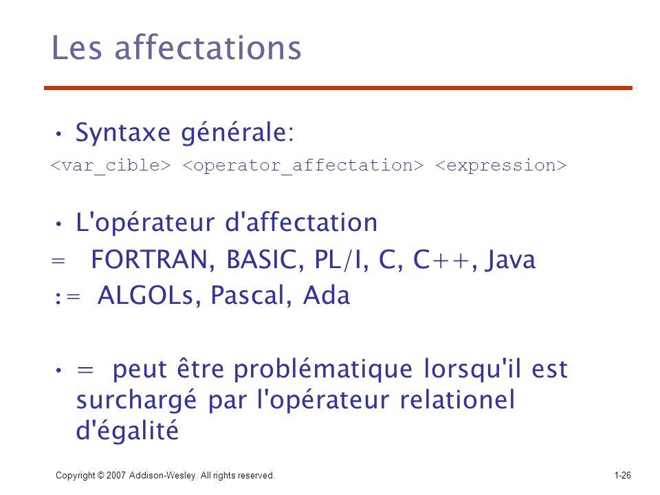 Les affectations Syntaxe générale: L opérateur d affectation