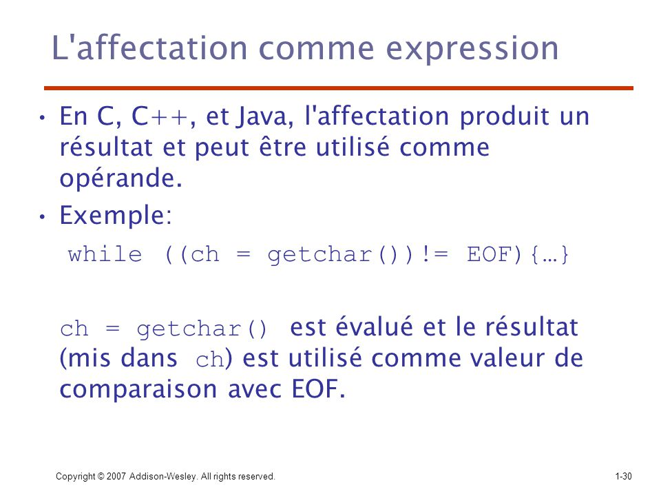 L affectation comme expression