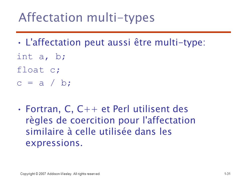 Affectation multi-types