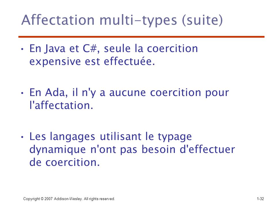 Affectation multi-types (suite)
