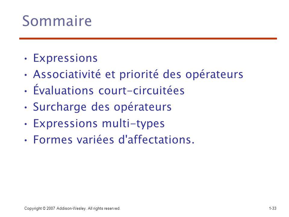 Sommaire Expressions Associativité et priorité des opérateurs