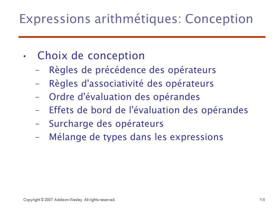 Expressions arithmétiques: Conception