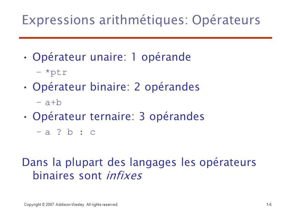 Expressions arithmétiques: Opérateurs