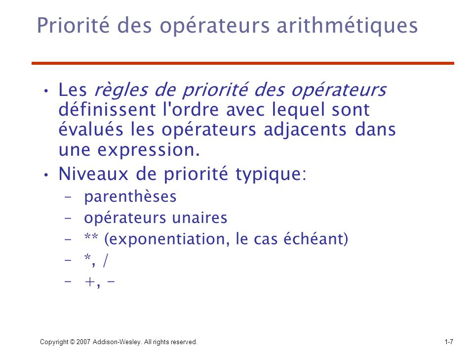 Priorité des opérateurs arithmétiques