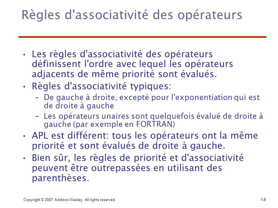 Règles d associativité des opérateurs