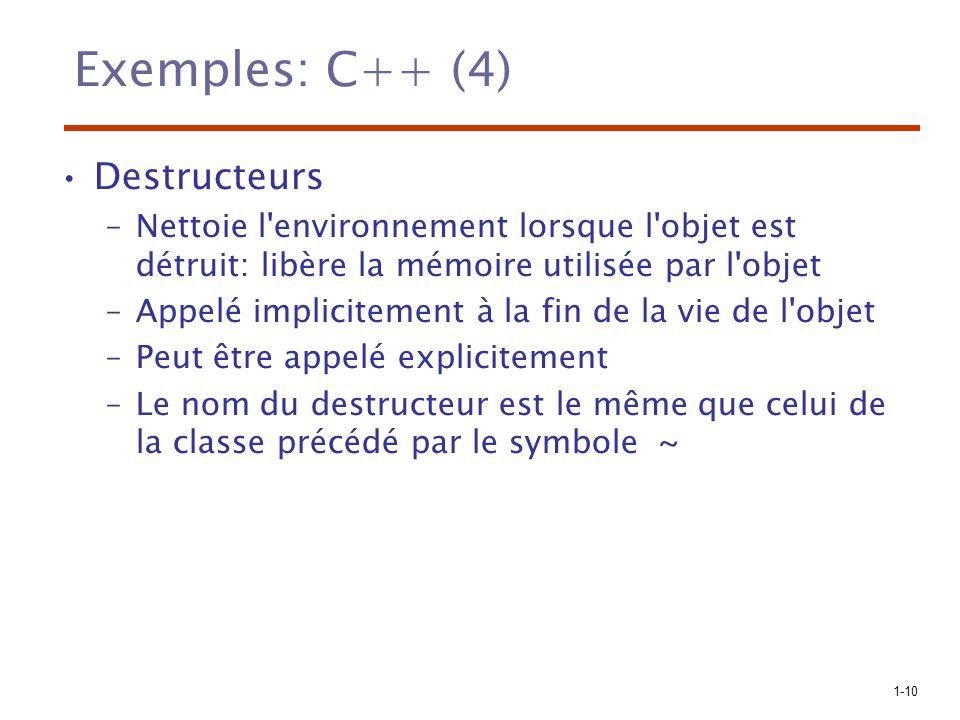 Exemples: C++ (4) Destructeurs