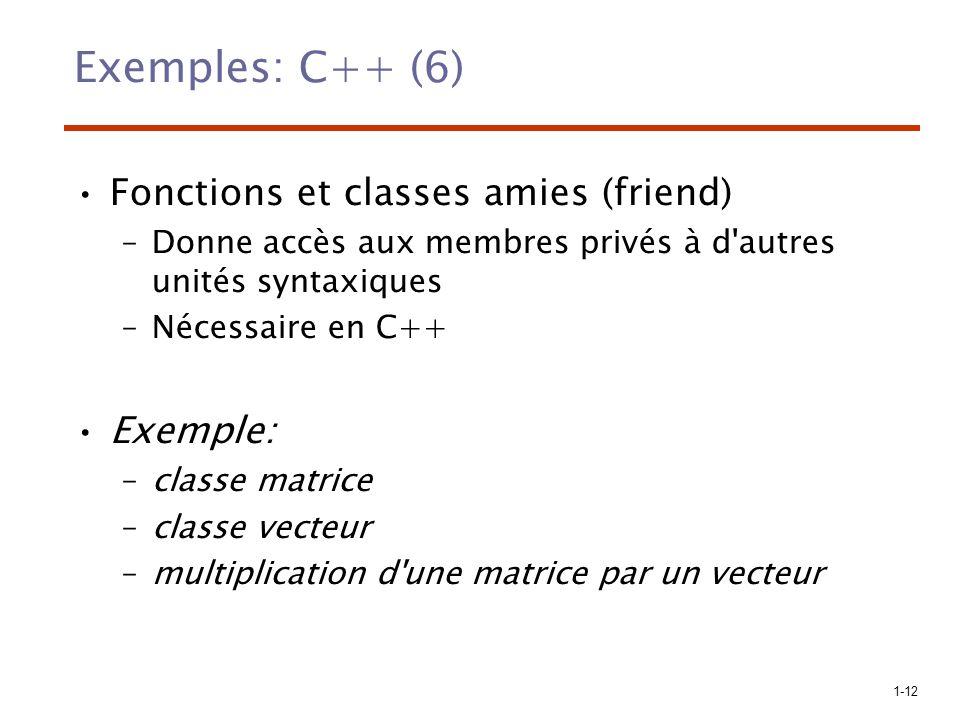 Exemples: C++ (6) Fonctions et classes amies (friend) Exemple: